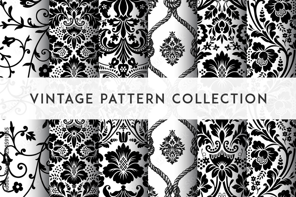 Fototapeta Set of Vector seamless damask patterns. Rich ornament, old Damascus style pattern for wallpapers, textile, packaging, design of luxury products - Vector Illustration