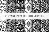 Fototapeta Dmuchawce - Set of Vector seamless damask patterns. Rich ornament, old Damascus style pattern for wallpapers, textile, packaging, design of luxury products - Vector Illustration