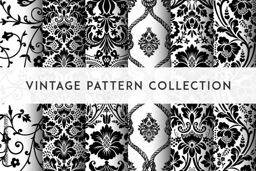 Papel de parede Set of Vector seamless damask patterns