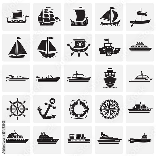 Fotografía  Ship icons on squares background for graphic and web design
