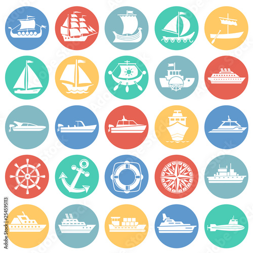 Fotomural  Ship icons on color circles white background for graphic and web design