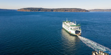 Aerial View Ferry Crossing Puget Sound Headed For Vashon Island
