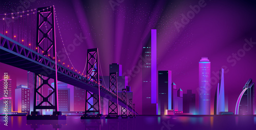 Spoed Foto op Canvas Violet Cartoon vector urban background with modern metropolis district, illuminated skyscrapers buildings, bridge over river or bay, projector lights beams in sky. Neon colors future city cyberpunk landscape