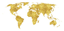Golden World Map Concept Illustration, Gold Planet Geography Icon Made Of Golden Glitter Dust On White Background.