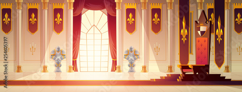 Obraz Medieval castle spacious throne hall or ballroom interior cartoon vector. Red carpet path to kings throne on pedestal, curtains on window, flags with royal emblem on walls, knights armors illustration - fototapety do salonu
