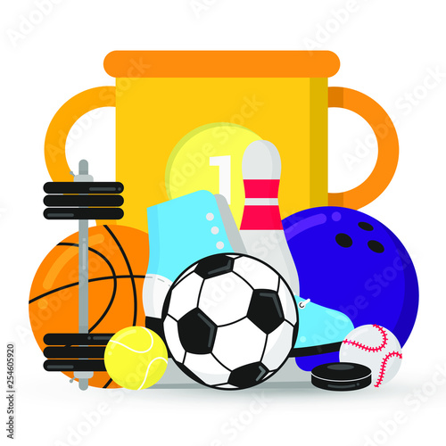 Sport Gaming Composition With Cup Balls Soccer Tennis
