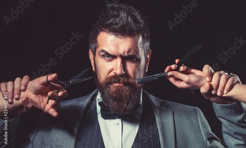 Barbershop. Mustache. Bearded man. Portrait of bearded hipster. Caucasian hipster. Mustache men. Macho.