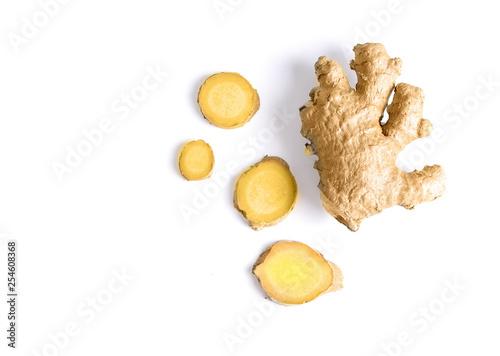 Fototapeta Ginger Slice  on White Background Top View obraz