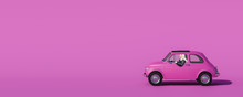 Rosa Auto Mit Frau Am Steuer Mit Rosa Hintergrund
