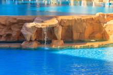 Beautiful Small Waterfall In The Swimming Pool
