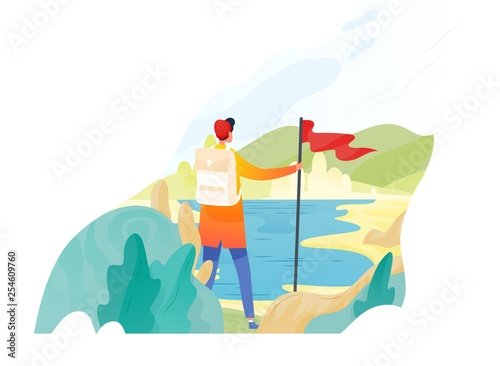 Fototapeta Backpacker, hiker, traveller or explorer standing, holding red flag and looking at nature