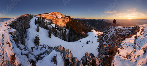 Photo Stands Gray traffic Slovakia mountain at winter, peak Tlsta at sunset, Fatra