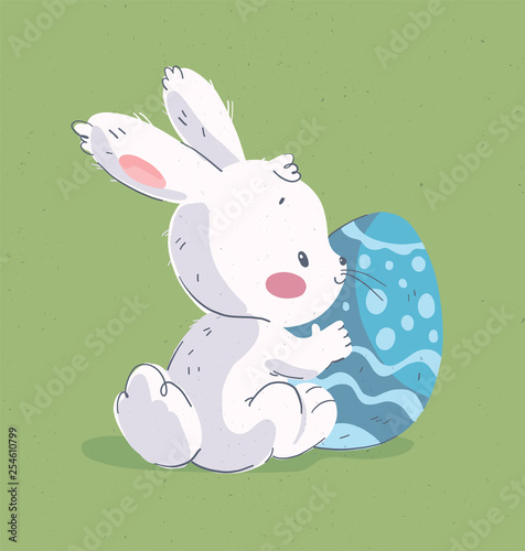 Vector Hand Drawn Illustration With Cute Little Baby Rabbit Big
