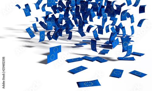 Viele Zettel, Fahnen und Flaggen aus Europa fallen zu Boden Canvas Print