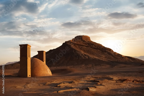 Foto auf Leinwand Rosa dunkel Towers of silence at sunset. Iran. The historical site of ancient Persia.