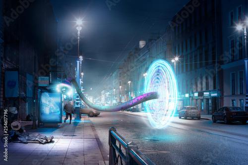 Fantastic plot - space-time portal on a city street Canvas Print