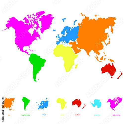 ikona wektor z mapy świata i kontynentów świata dla swojego projektu