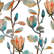 Watercolor Hand Drawn Beautiful Magnolia Flower. Seamless Floral  Pattern For Fabric Design Or Wallpaper. Autumn Pattern On White Background.