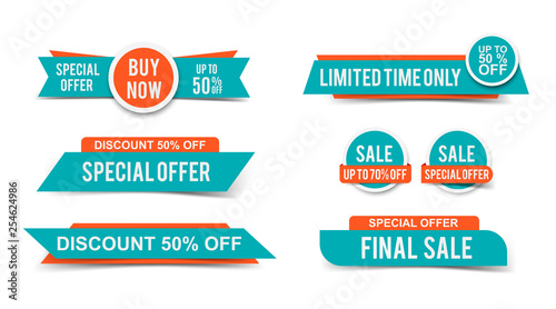 Photo Set of Sale tags or banners, special offer headers, discount stickers