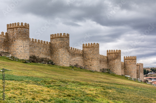 Avila (Castile and Leon, Spain): the famous medieval walls that surround the city Canvas Print