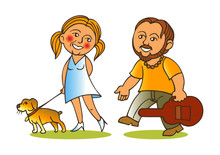 Love Couple, Girl With Dog And Boy With Guitar Go On Love Couple, Girl With Dog And Boy With Guitar Go On Datlove Couple, Girl With Dog And Boy With Guitar Go On Rendezvous Cartoon
