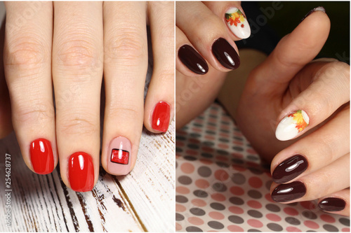 Fotografía  Colorful rainbow collection of nail designs for summer and winte