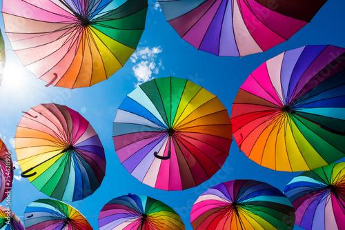 Fotografía  Many colorful umbrellas. Rainbow gay pride protection