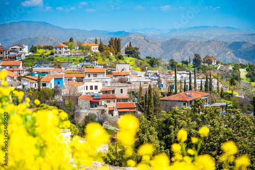 Garden Poster Cyprus Amazing view of famous landmark tourist destination valley Pano Lefkara village, Larnaca, Cyprus known by ceramic tiled house roofs and Greek orthodox church