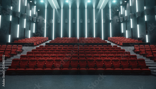 Cinema hall with blank screen and empty seats. Modern design with striking lighting, neon lighting. Audio system on the walls. Cinema hall without people. White screen with copy space, 3D illustration