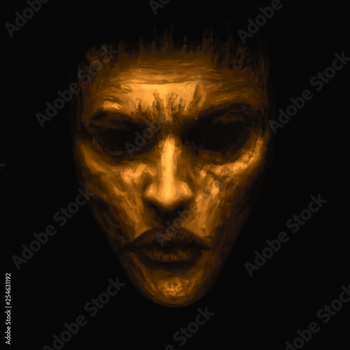 Fototapeta  Creepy witch girl face. Orange background color.