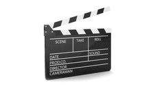 3d Illustration Of Open Movie Clapper Or Clapperboard Isolated On White Background. Black Film Clapper With Fields For Your Text. The Subject Of The Film Industry.