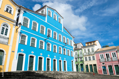 Leinwand Poster  Bright sunny view of the historic tourist center of Pelourinho, Salvador da Bahi