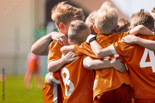 219fbd62360 Boys Soccer Football Team Huddle. Children Play Sports Game. Kids Sporty  Team United Ready to Play ...