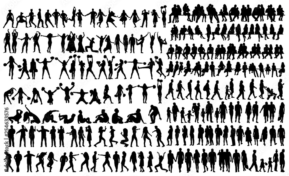 Fototapety, obrazy: silhouette people set