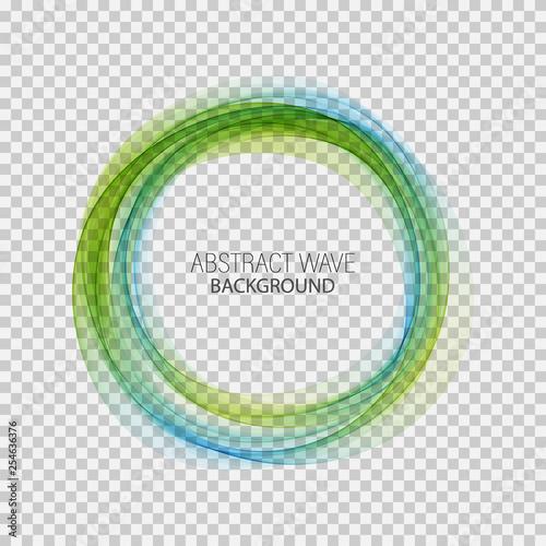 Türaufkleber Abstrakte Welle Abstract blue, green swirl circle bright background. Vector illustration for you modern design. Round frame or banner