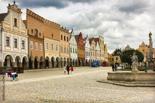 Poster South America Country Main square in beautiful medieval city of Telc, Czech republic. Medieval architecture.