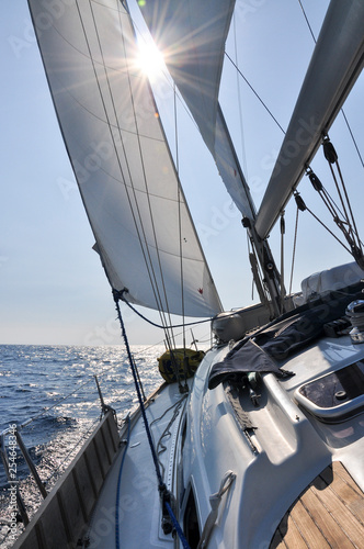 Garden Poster Sailing Sailing yacht on the sea.