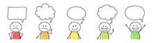Cartoon People With Empty Spee...