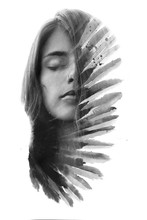 Paintography. Double Exposure Portrait Of A Young Woman With Long Flowing Hair Combined With Handmade Painting Resembling Feathers