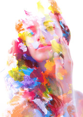 Fototapeta Do Spa Paintography. Double exposure. Close up of an attractive peaceful model combined with colorful hand drawn acryllic paintings with overlapping brushstroke texture