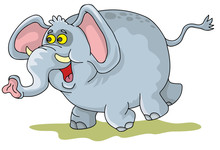 Coloring Pages For Childrens With Funny Animals,happy Elephant