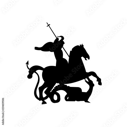 Fotografie, Obraz silhouette of st george killing a dragon
