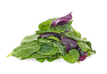 Salad Mix With Rucola, Spinach, Leaves Of Red Chard And Leaves Of Bulls Blood, White Background. Daily Healthy Diet.