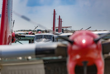Seaplanes In A Row, Hydroplane Standing At Male Airport, Maldives