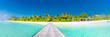 Maldives paradise scenery. Tropical landscape of palm trees and long jetty with white sandy beach. Exotic tourism destination banner
