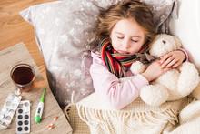 Little Ill Girl Sleep Hugging Teddy Bear