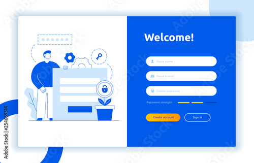 Login Ui Ux Design Concept And Illustration With Big Modern People Privacy Icons Inputs Forms Vector Website User Interface Sign In Sign Up Form Template Online Web Register Buy This Stock