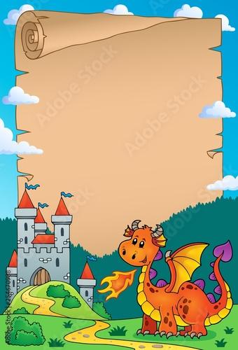 Foto op Canvas Voor kinderen Dragon and castle theme parchment 3