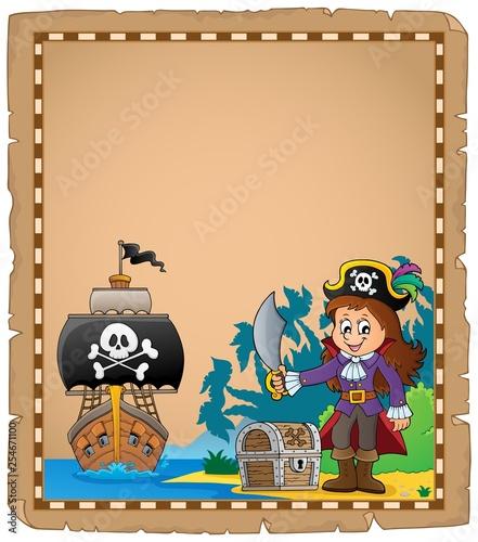 Foto op Canvas Voor kinderen Pirate girl on coast theme parchment 1