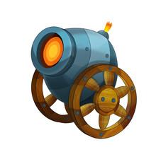Cartoon Cannon Shooting Steel ...